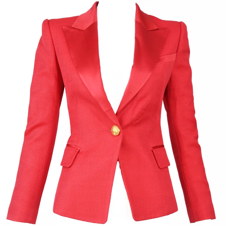 Balmain Red Pique Blazer with Satin Collar - Size FR 34