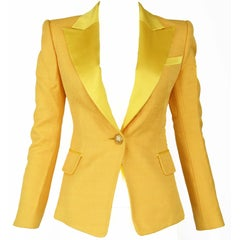 Balmain Yellow Pique Blazer with Satin Collar - Sizes FR 34 & 36