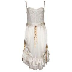 Dolce & Gabbana Boned Corset Lace Silk Eyelet Dress