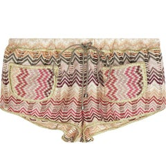 Missoni Metallic Crochet Knit Shorts Hot Pants