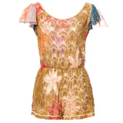 Stunning Missoni Gold Metallic Crochet Knit Floral Print Mini Jumpsuit