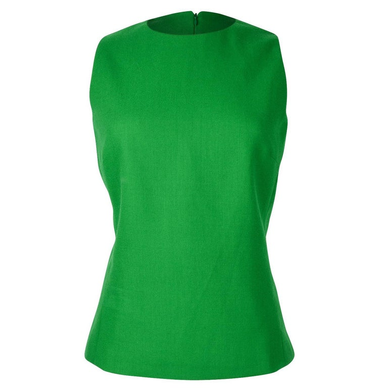 Christian Dior Top Emerald Green Sleeveless Shaped and Fitted fits 8 For Sale