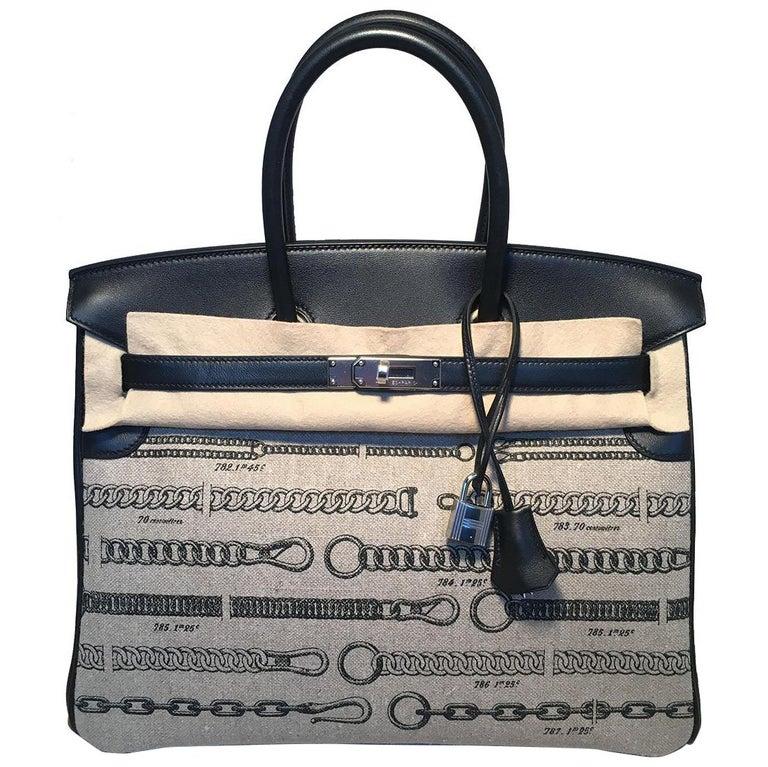 eb97dcd9d4 NWOT Limited Edition Hermes Toile de Camp Dechainee Canvas Black 35cm  Birkin Bag in excellent condition