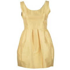 Prada Yellow Silk & Wool Sleeveless Dress - Size IT 42