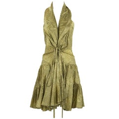 Alaia Green & Brown Printed SIlk Tiered Dress - Size FR 44