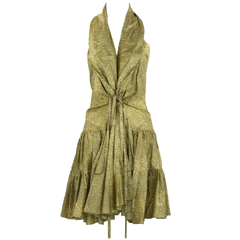 Alaia Green & Brown Printed SIlk Tiered Dress - Size FR 44 For Sale