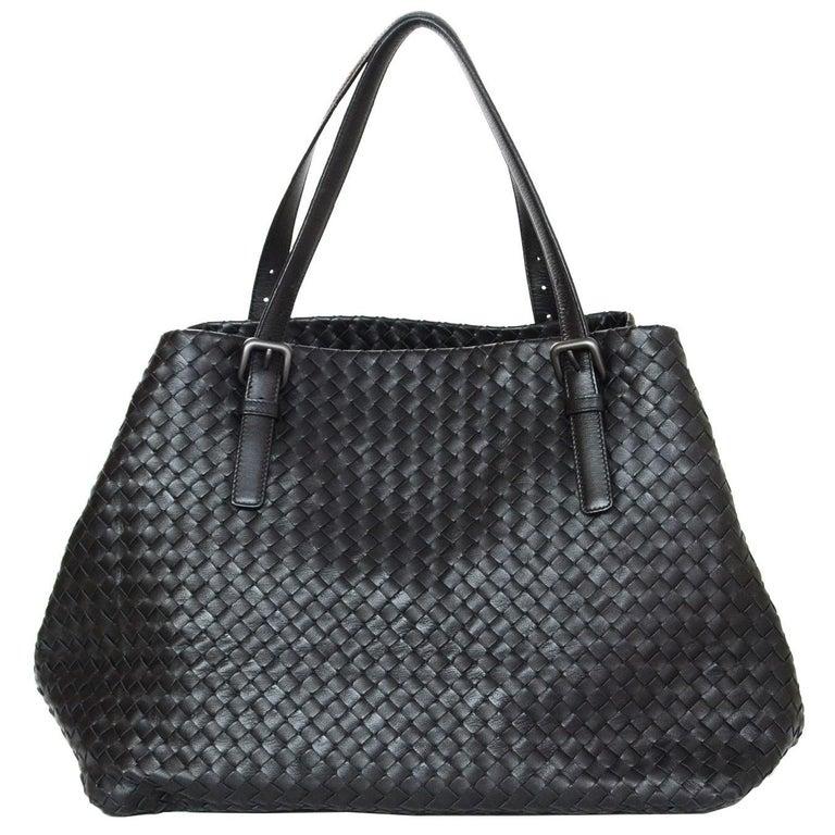 Bottega Veneta Black Woven Intrecciato Leather Large Cesta Tote Bag