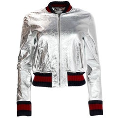 Gucci 2016 Resort Runway Silver Crackled Leather Bomber Jacket w. Web