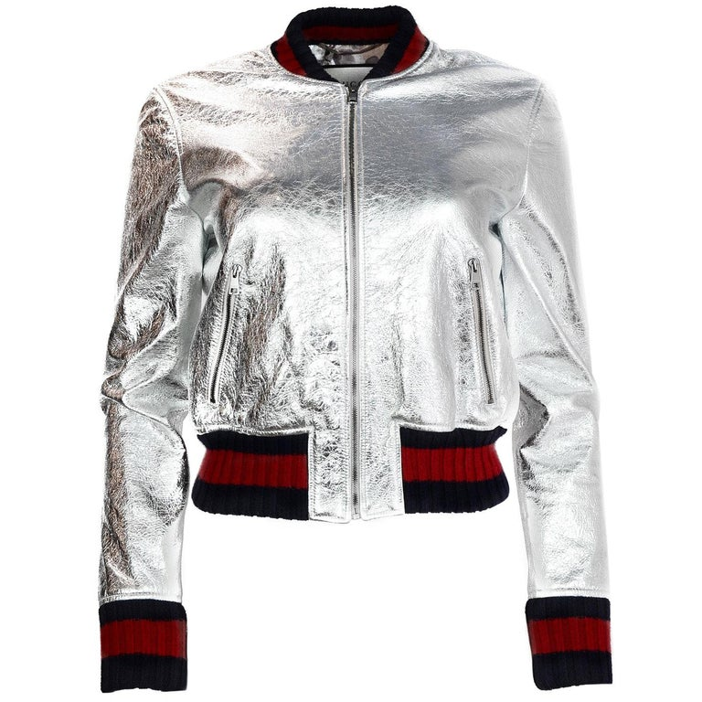 gucci 2016 resort runway silver crackled leather bomber