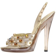 VINTAGE GIANNI VERSACE CRYSTAL and STUD EMBELLISHED PLATFORM SHOES