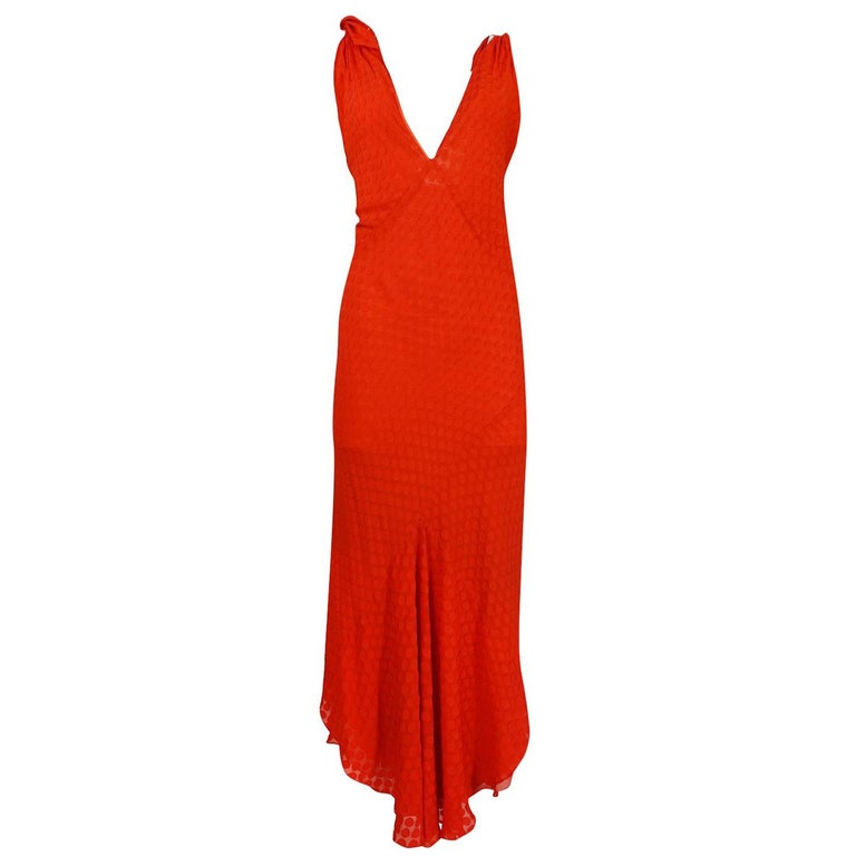 69982c5449d27 Late 1970s-1980s Janice Wainwright Red Dotted Silk Bias Cut Dress For Sale