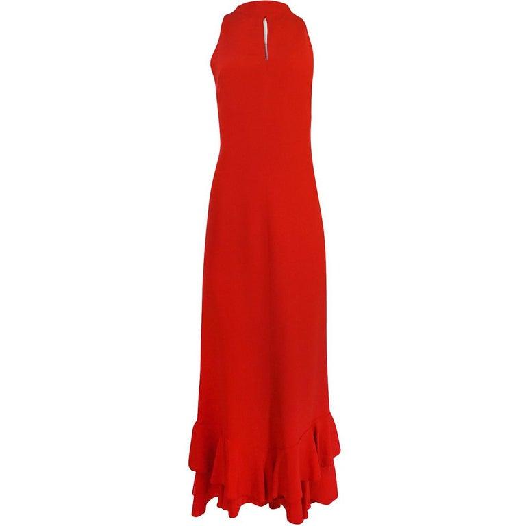 1990s Valentino Red Dress with Trained Ruffled Hem Finish