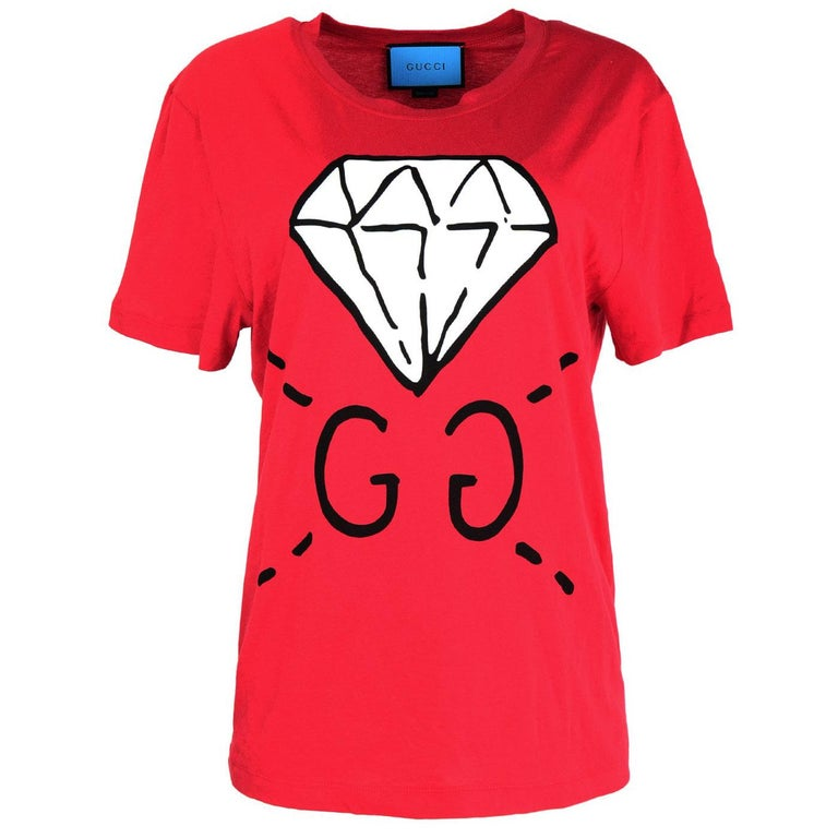 0bf5e789e53 Gucci Unisex 2016 Red GG Ghost Diamond T-Shirt sz Men s S rt.  450 ...
