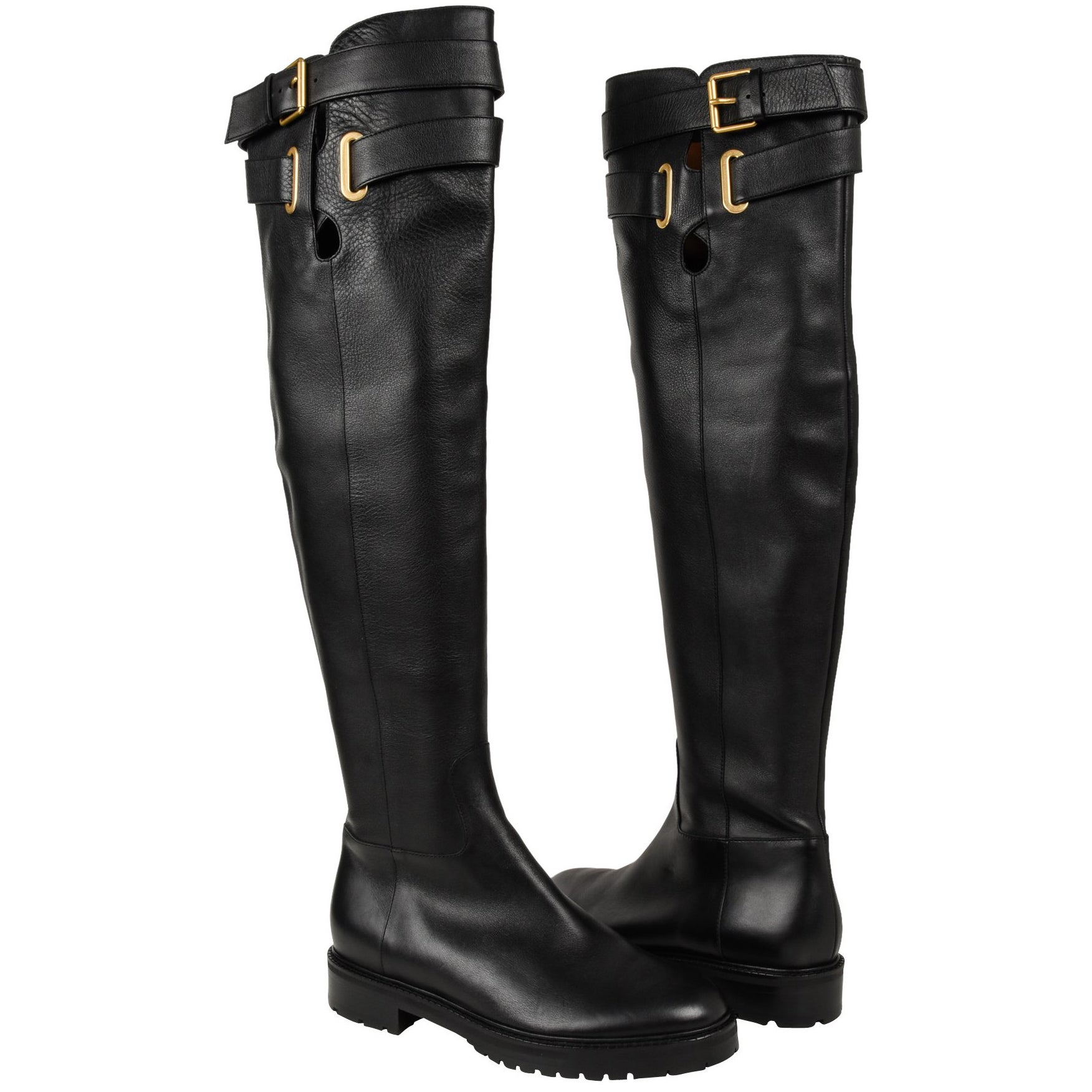 1b1629100fc Valentino Boots Over Knee Black Flat Crisscross Straps w  Buckle 39.5   9.5  New at 1stdibs