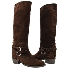 Ralph Lauren Boot Brown Suede Knee High Ankle Strap w/ Buckle Stirrup 8 New