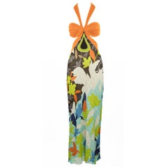Missoni Orange, Blue & Green Multicolor Halter Dress - IT 40