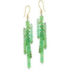 Estyn Hulbert Green Chrysoprase Dangling Icicle Earrings