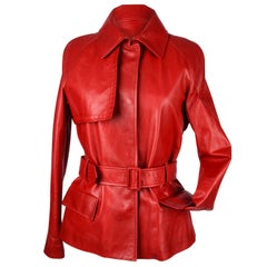 Bottega Veneta Jacket Red Leather Trench Inspired 42 / 8 New