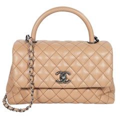 Tan Chanel Quilted Caviar Leather Satchel
