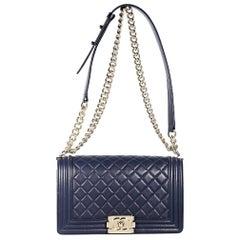 Navy Blue Chanel Leather Boy Shoulder Bag