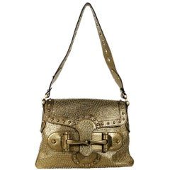 Gucci Metallic Gold Studded Leather Borchie Shoulder Bag