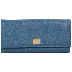 Blue Dolce & Gabbana Textured Leather Wallet