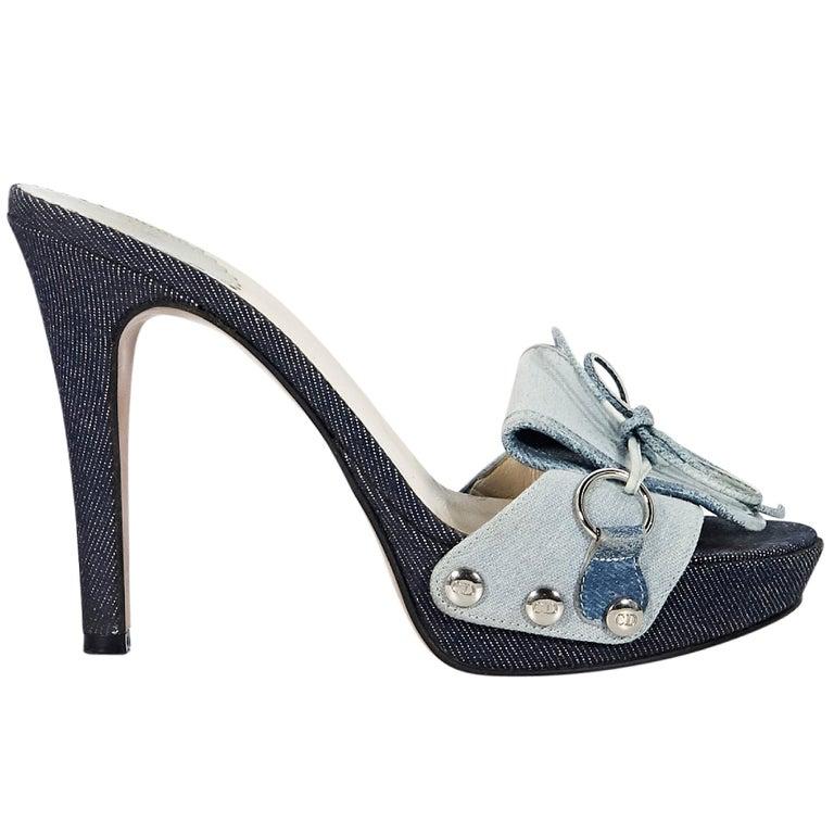 65d807d8a7f Blue Christian Dior Denim Platform Sandals For Sale at 1stdibs