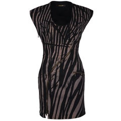 Roberto Cavalli Black Zebra Printed Denim Zipper Dress
