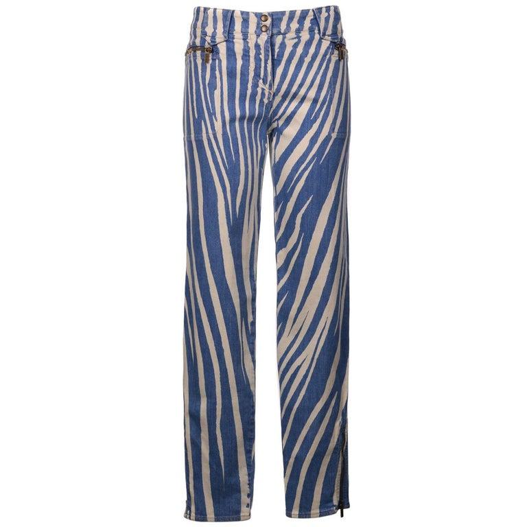 Roberto Cavalli Womens Blue Zebra Print Denim Pants