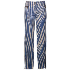 Roberto Cavalli Womens Blue Zebra Print Denim Pants