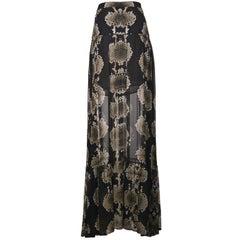 Roberto Cavalli Olive Green Beige Snake Detailed Maxi Skirt
