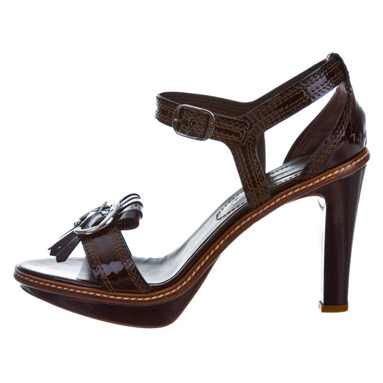 Celine Patent Leather Brown Platform Heels