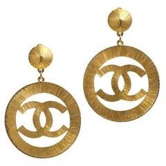 "Chanel ""CC"" Sunburst Gold Plated Earrings, 1990s"
