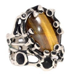 Lee Peck Modernist Brutalist Sterling Silver Ring W Tigers Eye Cabochon Size 10