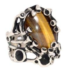 Lee Peck Modernist Brutalist Sterling Silver Ring W Tigers Eye Cabochon Size 10
