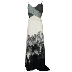Hanae Mori Haute Couture Scenic Printed Silk Dress and Shawl, S/S 2000