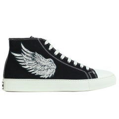 Roberto Cavalli Mens Black Embroidered High Top Sneakers