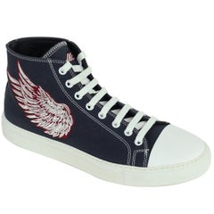 Roberto Cavalli Mens Navy Embroidered Angel High Top Sneakers