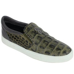 Roberto Cavalli Olive Green Croc Embossed Leather Slip Ons