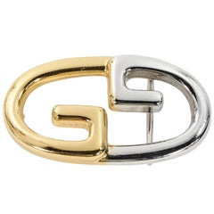 Gold & Silver Vintage Gucci Double G Belt Buckle