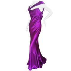 John Galliano VIntage Bias Cut  Amethyst Charmeuse Evening Gown