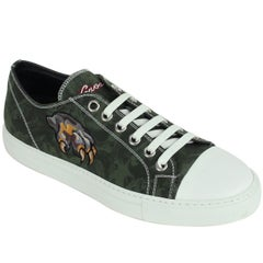 Roberto Cavalli Mens Green Embroidered Claw Low Top Sneaker