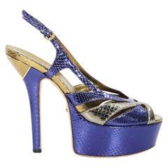 Gold & Purple Gucci Slingback Platform Sandals