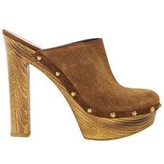 Brown Gucci Suede Platform Clogs