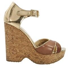 Gold & Brown Jimmy Choo Cork Wedge Sandals