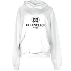 Balenciaga Unisex White BB Mode Hooded Sweatshirt