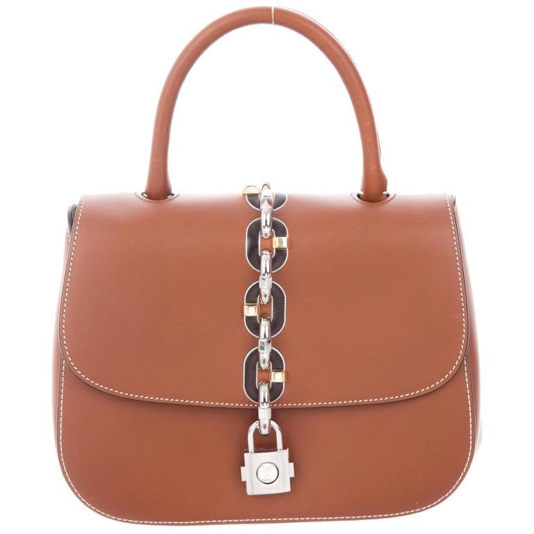 0616356ff861 Louis Vuitton New Cognac Leather Kelly Style Top Handle Satchel Evening  Flap Bag For Sale