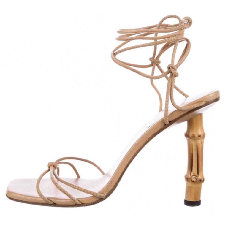 98dad5acffda Vintage Gucci Leather Lace Up Bamboo Heels Shoes at 1stdibs