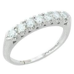 Round Cut Linear Diamond Ring, Platinum