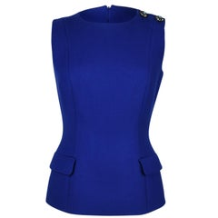 Christian Dior Top Electric Blue Sleeveless Jeweled Shoulder fits 8